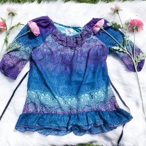 Justice Purple Blue Blouse Floral Flower Ombre 16